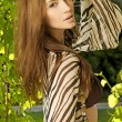 Brunette in the garden - Lizenzfreies Foto