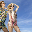 Two beautiful blonde and brunette girl in sunglasses — Stock Photo