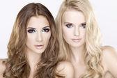 两个女孩朋友-金发和黑发 — 图库照片