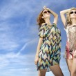 Two beautiful girl in sunglasses on background blue sky — Stock Photo #6239933