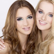 Two smiling girl friends - blond and brunette — Stock Photo #6248669