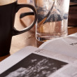 Reading newspaper in cafe during break — Stock Photo