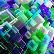 Abstract cloud of cubes - Stock Photo