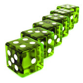 Line of Green Dice — Stock Photo