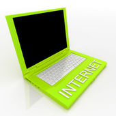 Laptop computer with word internet on it — Foto de Stock