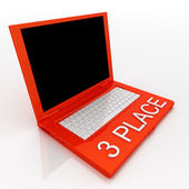 Laptop computer with word 3 place on it — Stock Photo