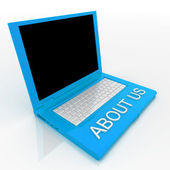 Laptop computer with word about us on it — Stock Photo