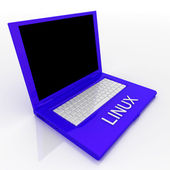 Laptop computer with linux on it — Stock Photo
