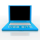 Laptop computer with word web site on it — Stock Photo