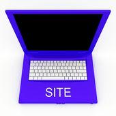 Computer portatile con sito parola su di esso — Foto Stock