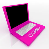 Laptop computer with word casino on it — Stock Photo