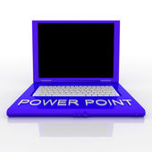 Laptop computer with word power point on it — Stock Photo