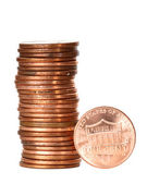 One cent coins — Stock Photo