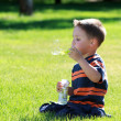 Boy with bubbles — Stock Photo