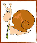 Amusing snail in the green tie — Stock Vector