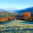 Autumn misty morning mountain valley — Stock Photo