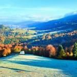 Autumn misty morning mountain valley — Stock Photo #6156400