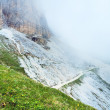Summer misty Rifugio Auronzo rocks — Stock Photo