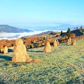 Autumn misty morning mountain hill — Stock Photo