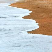 Sea surf foam on coastline sand — Stock Photo