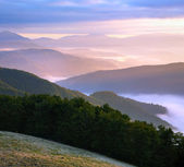 Pink mountain hazy daybreak — Stock Photo