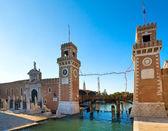 Arsenal de veneza e a entrada do museu naval — Foto Stock