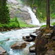 Alps waterfall summer view - Stock Photo
