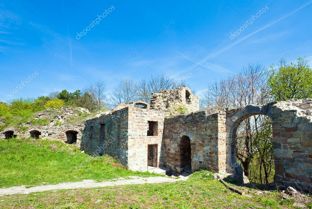 Spring view of Terebovlia castle  ruins (Ternopil Oblast, Ukraine). Built in 1366.  Stock Photo #6466545