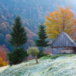 Autumn mountain view with shed - Stock Photo