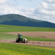 Tractor spraying the fields — Stockfoto