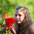Girl with a roses . — Stock Photo