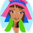 Portrait of a woman from the tribe Padaung. — Imagen vectorial
