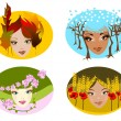 Portraits of four seasons. — Stock Vector