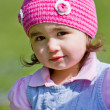 Toddler girl in knit cap — Stock Photo