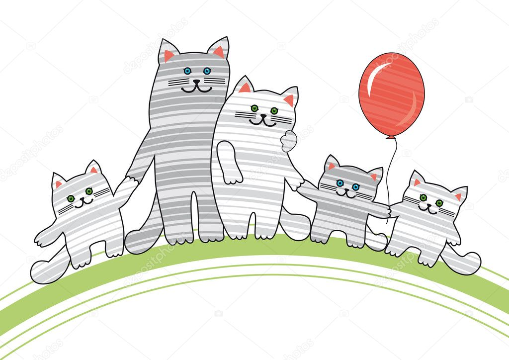 Striped  cats and three kittens with a balloon  Stock Vector #5722782