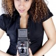 Woman with Vintage Antique Camera — Stock Photo #5484238