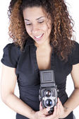 Woman with Vintage Antique Camera — Stock Photo
