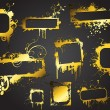 Royalty-Free Stock Vector Image: Grunge Splashy Golden Shade Frame Set