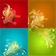 Stock Vector: Set Of Golden Elements On Different Backgrounds