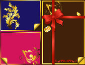 Beautiful Golden Elements With Red Gift Bow — Stock Vector