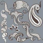 Set Of Various Heena Designs — Stock Vector