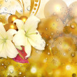 Lovely Flowers Sparkle Bubbles Background — Stock Photo