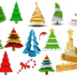 Royalty-Free Stock Vector Image: Christmas tree vector illustration vintage set
