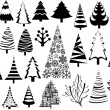 Christmas tree vector illustration vintage set — Stock Vector