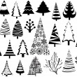 Stock Vector: Christmas tree vector illustration vintage set