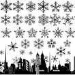 Stock Vector: Snowflake winter set vector illustrations