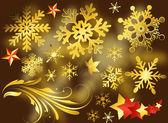 Creatieve gouden decoratieve vlokken elementen — Stockvector