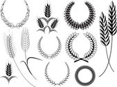 Ancient Design Of Laurel Wreath n Wheat Ears Elements — Stock Vector