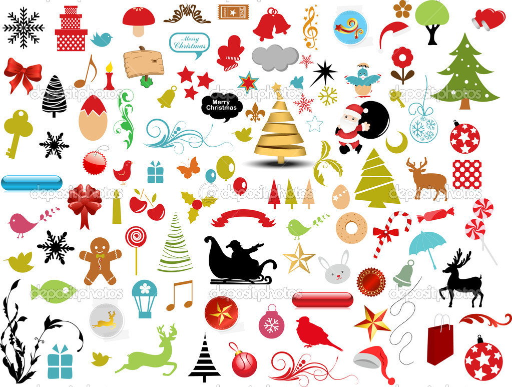Vector illustration - set of christmas icons and Graphics vector stock — Stock Vector #5805293