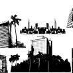 Urban City Vintage Skyline Collection — Stock Vector